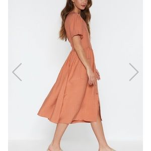 Nasty Gal Dresses - NEW Nasty Gal Button down linen Midi Dress Small